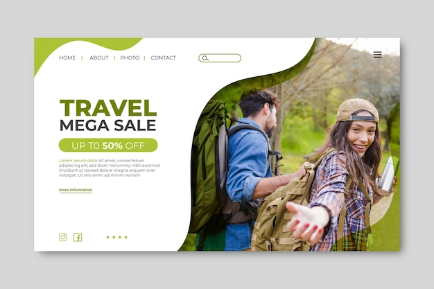 Landing page template for travel sale with photo