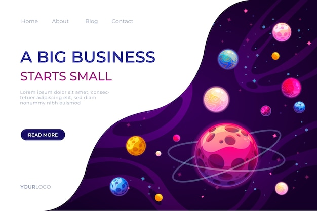 Landing page template of the universe