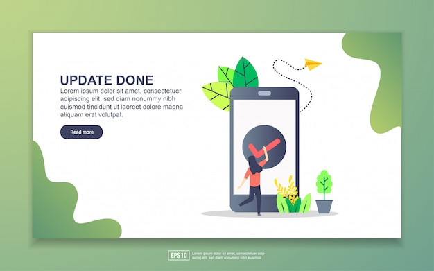 Landing page template of update done. modern flat design concept of web page design for website and mobile website.
