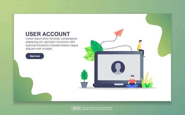 Landing page template of user account