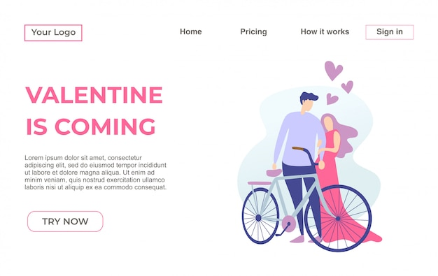 Landing page template of valentine couple with dating