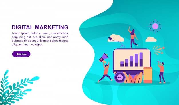 Landing page template, vector illustration concept of digital marketing with character.