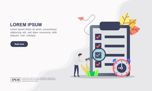 Landing page template. vector illustration of data analysis & business information research solution concept with