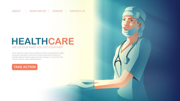 Landing page template in vector illustration of healthcare service featuring the smiling tireless healthcare worker