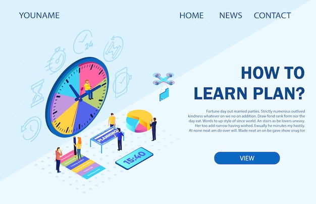 Landing page template. vector illustration inscription how to learn plan
