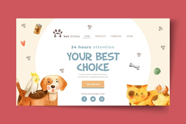 Landing page template for veterinary clinic