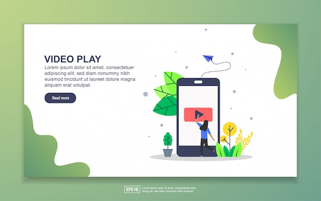Landing page template of video play