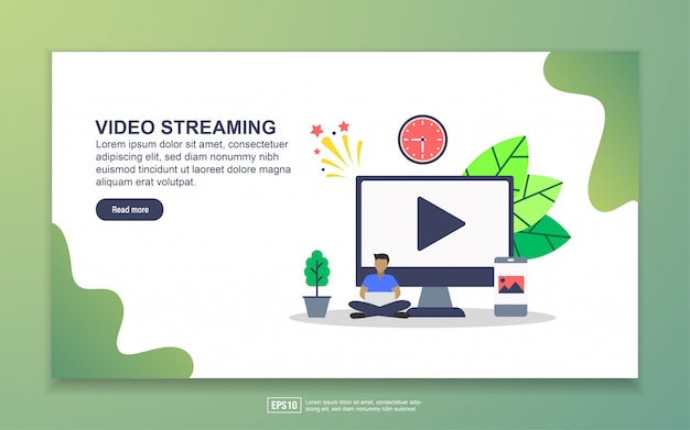 Landing page template of video streaming. modern flat design concept of web page design for website and mobile website