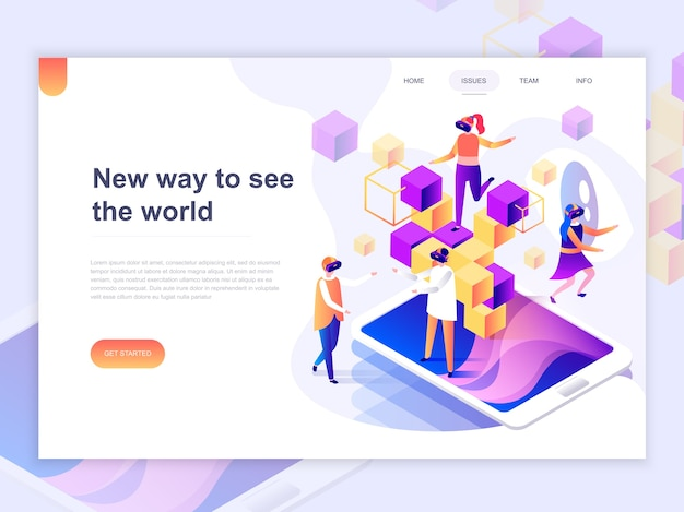 Landing page template of virtual augmented reality.