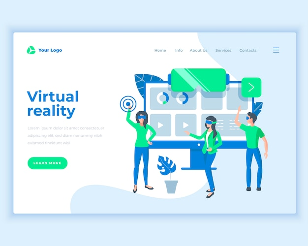 Landing page template virtual reality concept with office people.