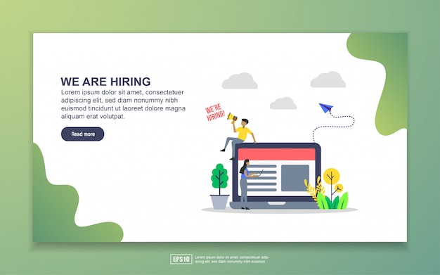 Landing page template of we are hiring. modern flat design concept of web page design for website and mobile website