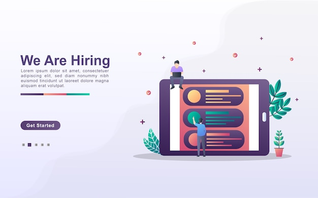 Landing page template of we are hiring