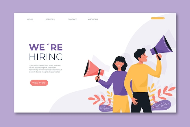 Landing page template we are hiring