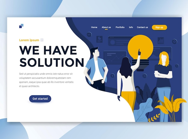 Landing page template of we have solution