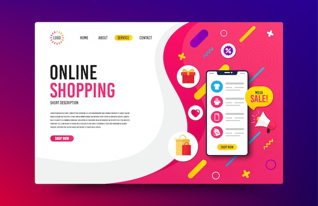 Landing page template. web design for online shopping, digital marketing.