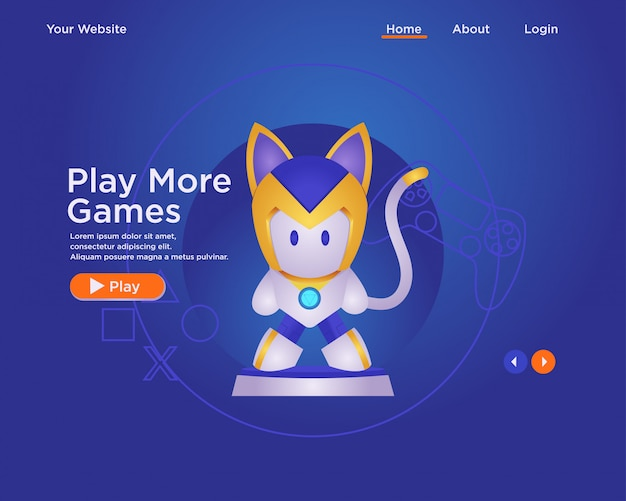 Landing page template, web design template gamer with character. robot cat
