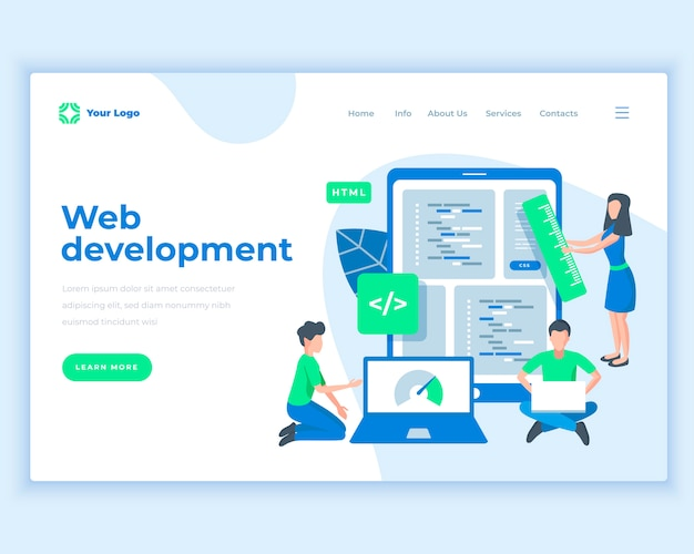 Landing page template web development concept with office people.