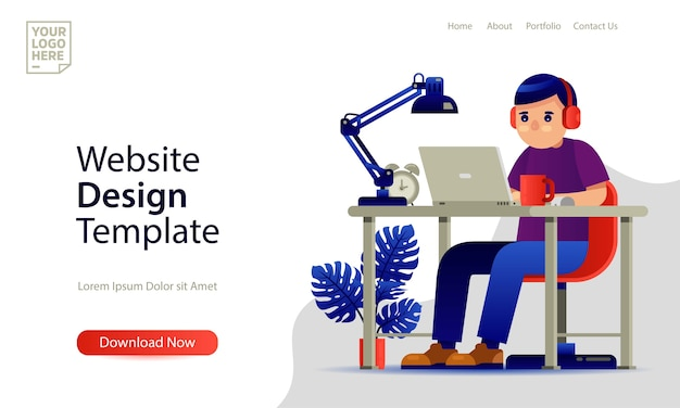 Landing page template website design