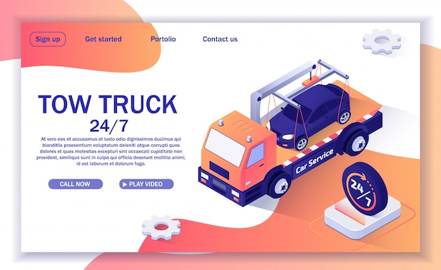 Landing page template for website with offer of tow truck assistance