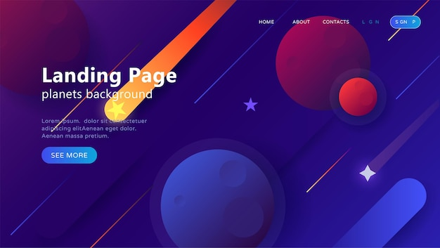Landing page template for websites or apps with open space dynamic shapes