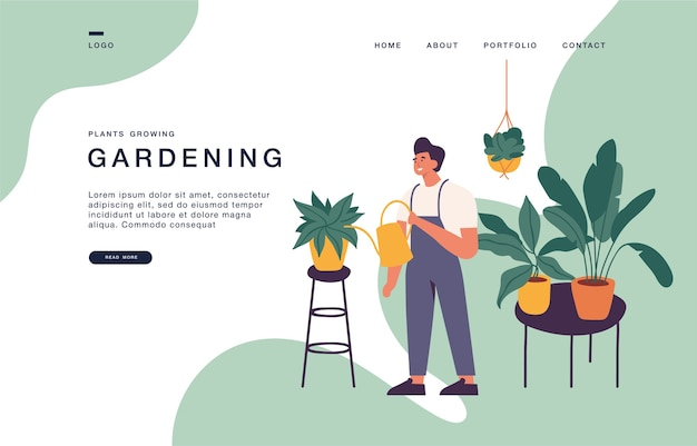 Landing page template for websites with man taking care of houseplants growing in planters. gardening concept illustration banner