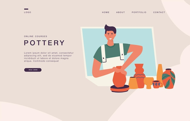 Landing page template for websites with young man making pottery