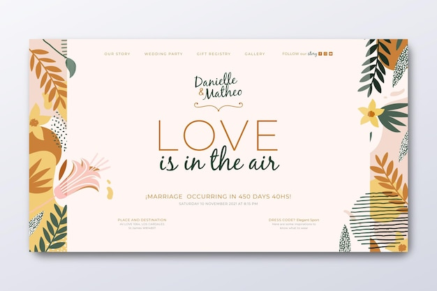 Landing page template for wedding with leaves