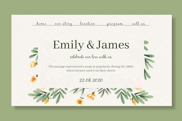 Landing page template for wedding with watercolor flowers