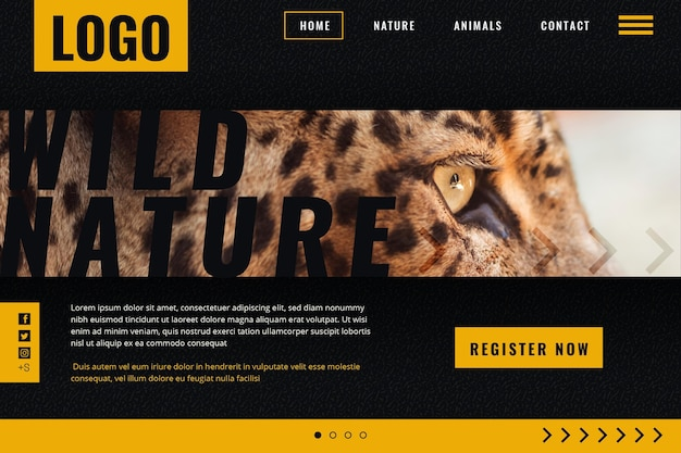 Landing page template for wild nature with cheetah