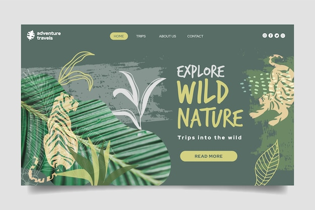 Landing page template for wild nature with vegetation and tiger