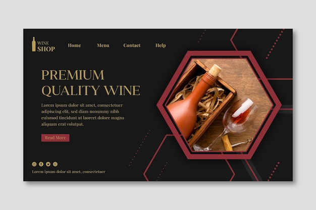 Landing page template for wine tasting