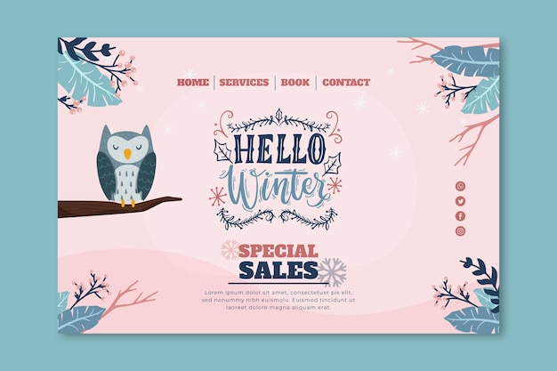 Landing page template for winter sale with owl