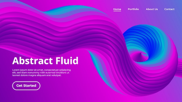 Landing page template with 3d wave liquid shape in movement