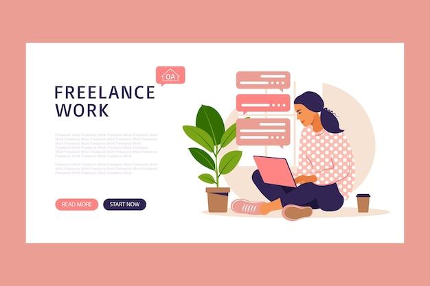 Шаблон целевой страницы с девушкой-фрилансером, работающей дома на ноутбуке и пьющей кофе. сотрудничество в области онлайн-коммуникаций.