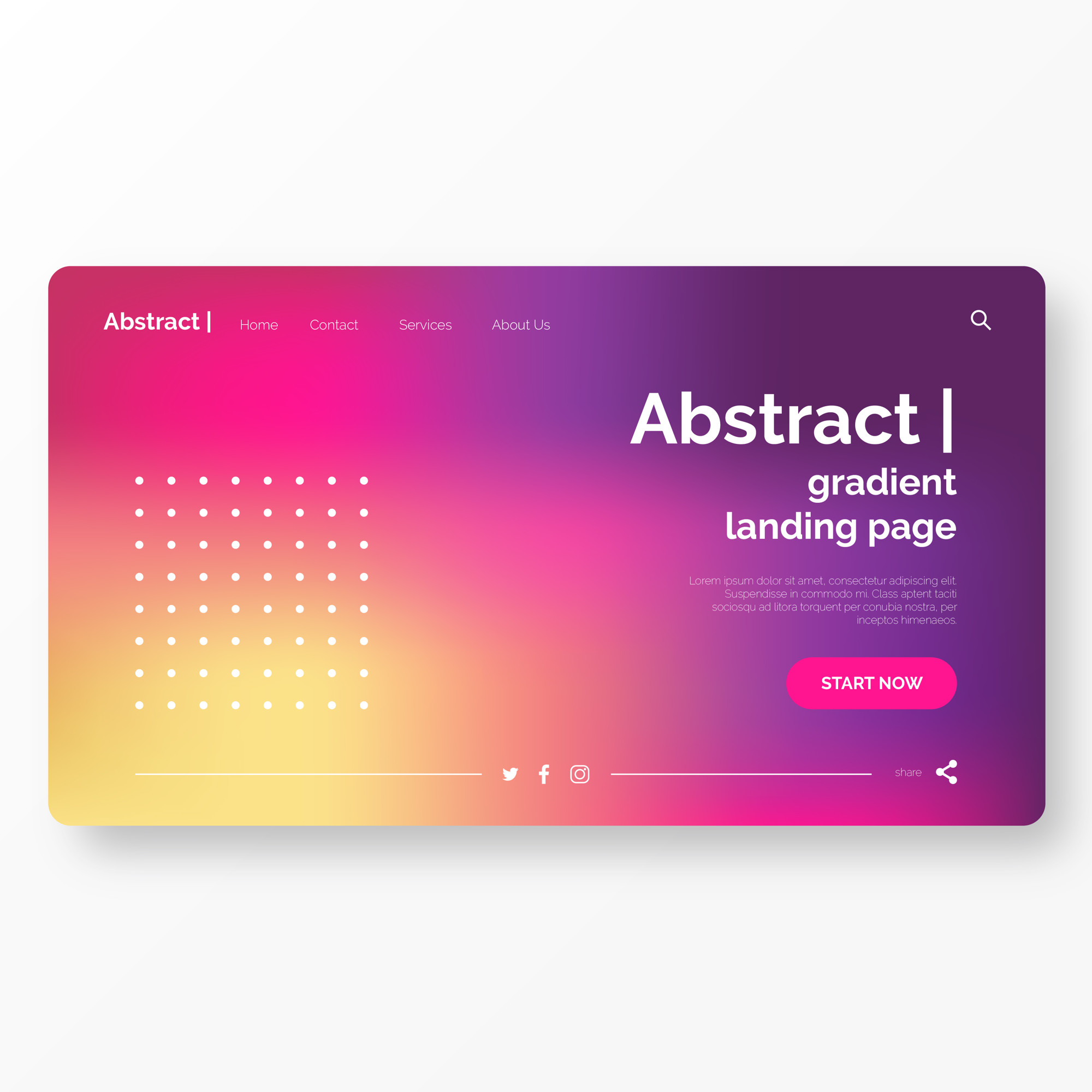 Landing Page Template with Abstract Background