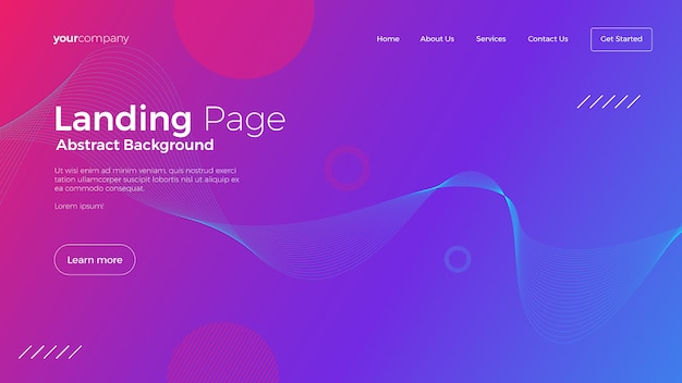 Landing page template with abstract gradient design