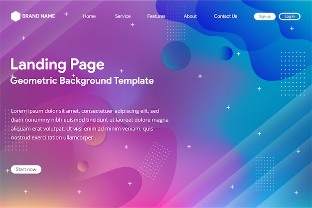 Landing page template with abstract gradient mesh design