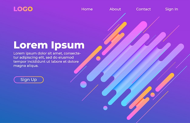 Landing page template with abstract shape composition