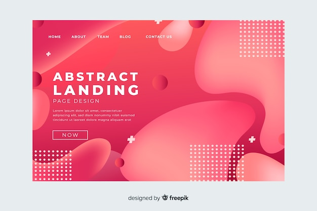Landing page template with abstract shapes