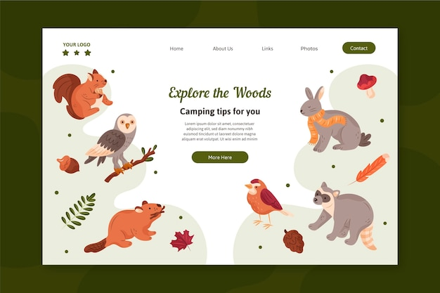 Landing page template with animals from the forest