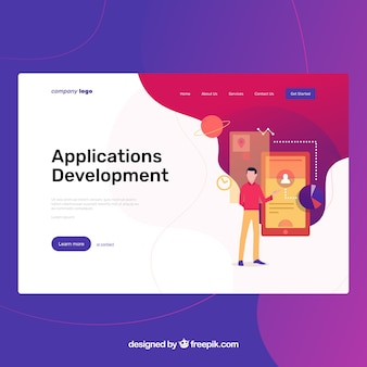 Landing page template with app development concept