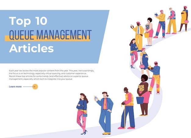 Шаблон целевой страницы со статьями по управлению очередью людей. группа персонажей - мужчины и женщины, стоящие и ждущие в большой очереди. векторная иллюстрация.