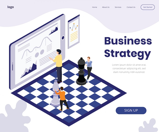Landing page template with artwork concept of business strategy