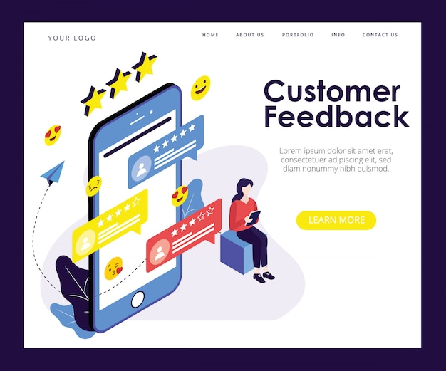 Landing page template with artwork concept of customer feedback