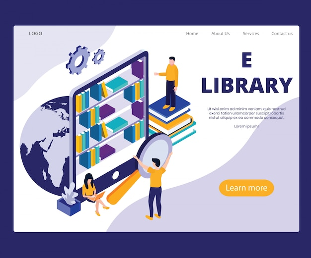 Landing page template with artwork concept of e library