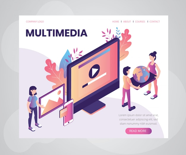 Landing page template with artwork concept of multimedia