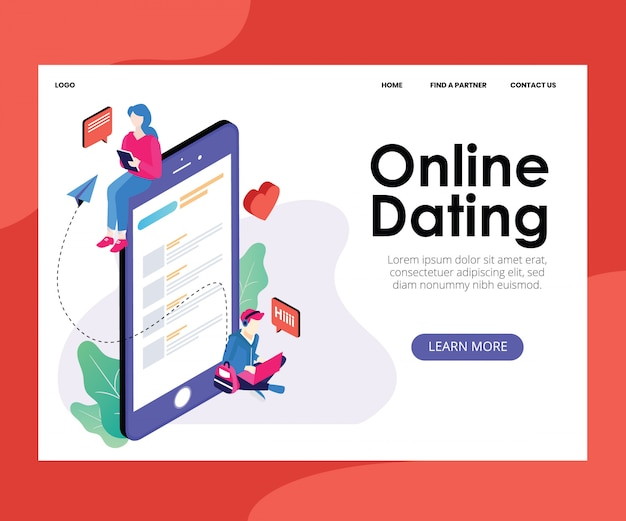 Landing page template with artwork concept of online dating