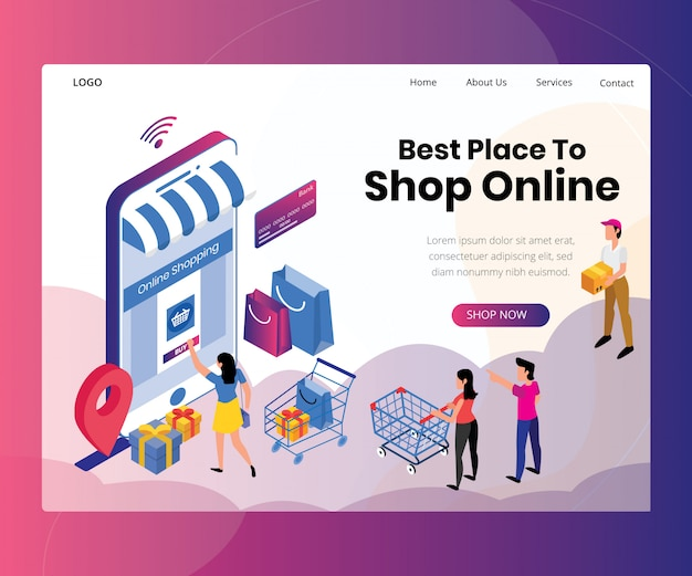 Landing page template with artwork concept of online shopping