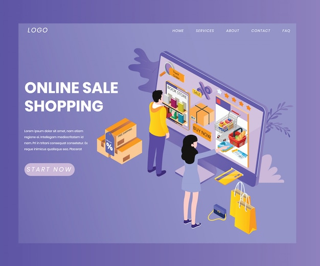 Landing page template with artwork concept of sale shopping