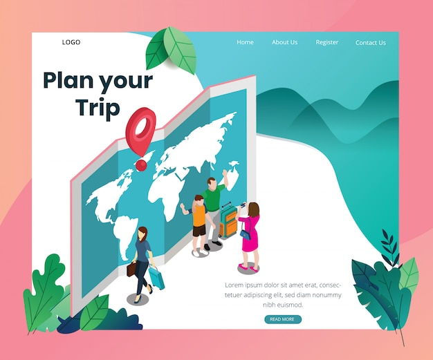 Landing page template with artwork concept of traveling